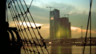 Video background. Port city at sunset. Gdynia, Poland. HD video