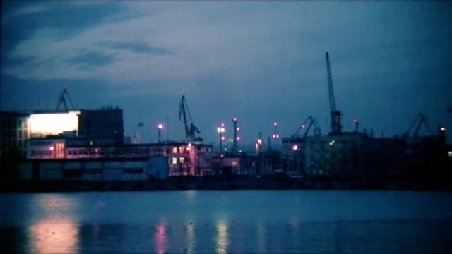Video background. Port lights at night, Gdynia, Poland. PAL video