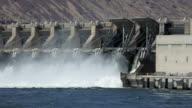 HD video Dalles Dam spillway Columbia River Oregon video