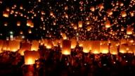 HD Video Floating lanterns Yeepeng festival Loi krathong Thailand culture. video