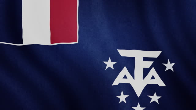 4-K Video : French Southern and Antarctic Lands waving flag video
