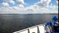 Video from the nose of the ship. River landscape, summer, clouds. Volga cruise, Russia video