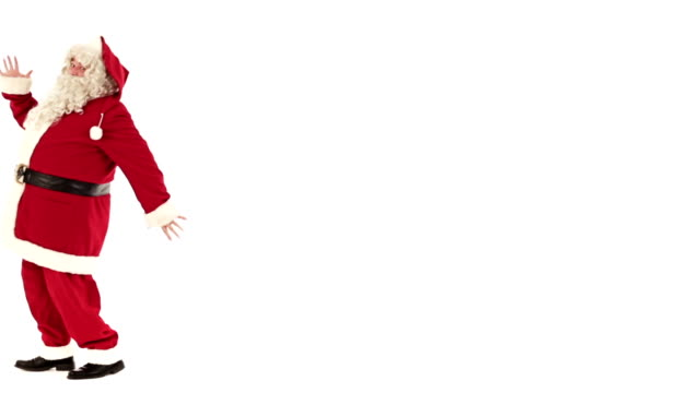 HD video funny santa claus dancing isolated on white copyspace video