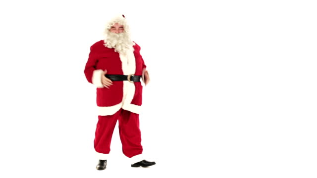 HD video funny Santa Claus dancing on white background video