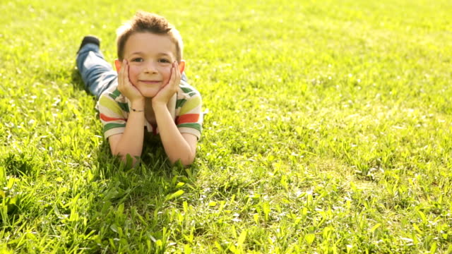 HD video happy child playing lying on the grass video