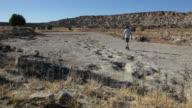HD video Hiker and Jurassic dinosaur tracksite Colorado video