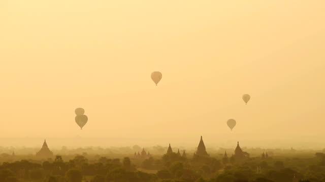 HD video :  hot air balloon over Pagoda landscape with sunrise, Bagan, Myanmar (Burma) video