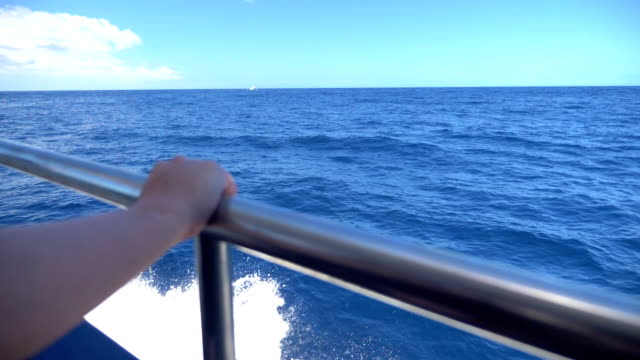 Video of a deck boat on the ocean in real slow Motion video
