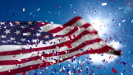 Video of American flag and confetti video