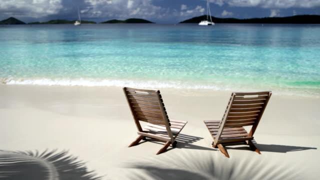 video of beach chairs at Salomon Bay, St.John, USVI video