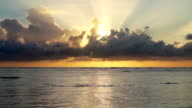 Video of beautiful sunrise above the ocean video
