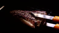 Video of cooking steak on the grill-real slow motion video