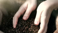 Video of grabbing coffee beans in real slow motion video