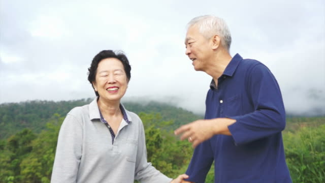 Video of Happy asian senior couple pointing, talking and walk through the park with mountain background video