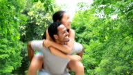video of happy young couple together outdoor video