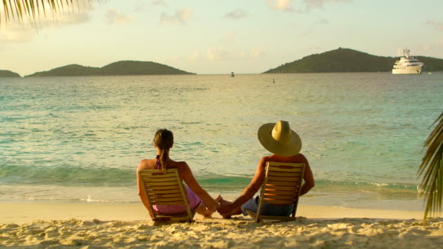 video of honeymoon couple watching sunset at a Caribbean beach video
