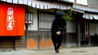 Video of ninja warrior in old Japanese village video