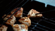 Video of poultry on the grill in real slow motion video