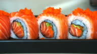 Video of salmon maki roll. Japanese sushi cuisine with fresh raw fish video