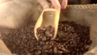 Video of scooping coffee beans in real slow motion video