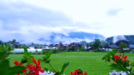 Video of small houses village in Switzerland with red flower foreground and mountain background video