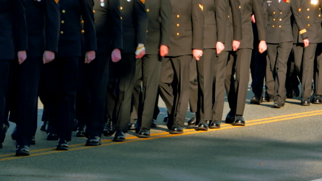 Video of Soldiers Marching in Formation in Uniform video