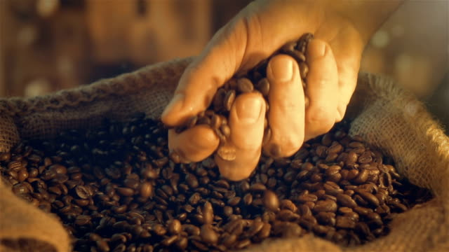 Video of taking coffee beans in real slow motion video