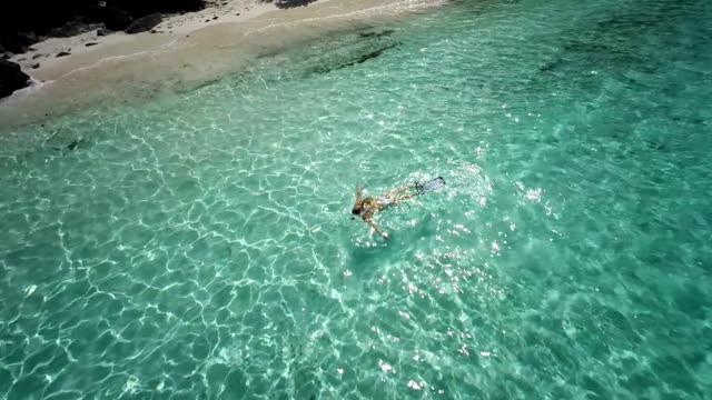 video of unrecognizable bikini woman snorkeling in the Caribbean video