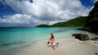 video of woman going snorkeling in St.John, US Virgin Islands video