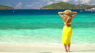 video of woman standing on a beach in the Caribbean video
