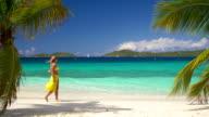 video of woman walking along the Caribbean beach shoreline video