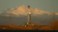 HD video oil fracking drill rig and Longs Peak Weld County Colorado video