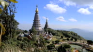 Video panning of Two pagoda on the moutain in north of Thailand video