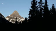 HD Video pans the forest and moon over the snow covered Mount Reynolds early in the morning in along the Going to the Sun Road in Glacier National Park in Montana. video