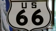 Video Route 66 US California highway signage. Famous road street in United State video