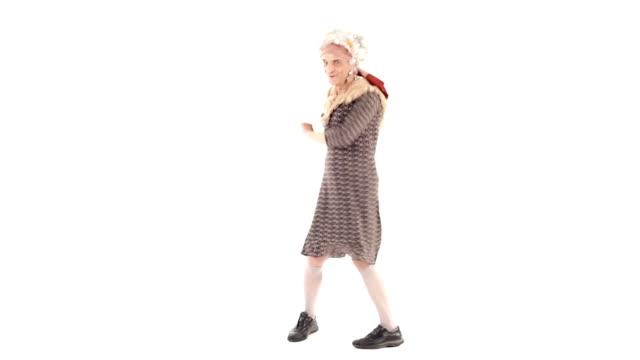 HD video senior grandma isolated on white dancing video
