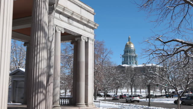 HD video Snowy park and Denver Colorado State Capitol Building video