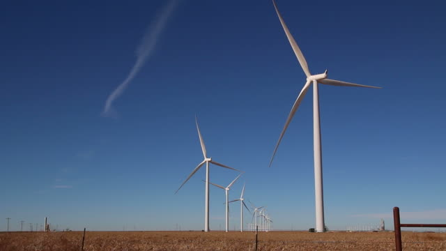 HD video Vega wind turbine farm with crops Texas video