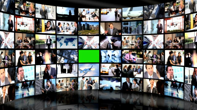 3D Video Wall Green Screen Business People Wireless Communication video