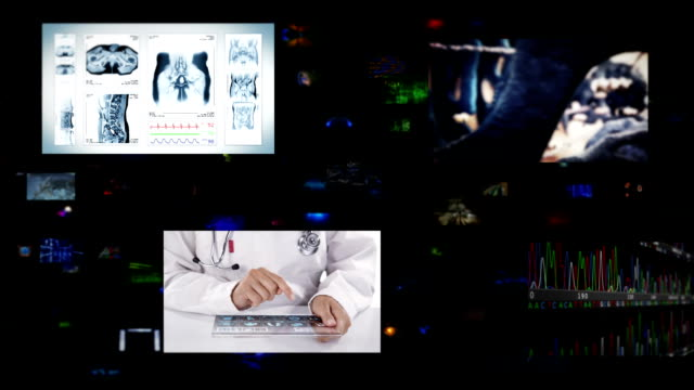 Video wall. Medical. Black background. Loopable. video