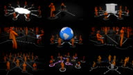 Video wall. Networks. Orange. Black background. video