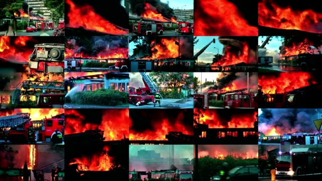 Video wall of big  fire in the city video