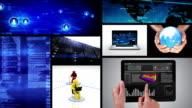 Video wall. Technology themed videos. Black background. Alpha matte. video