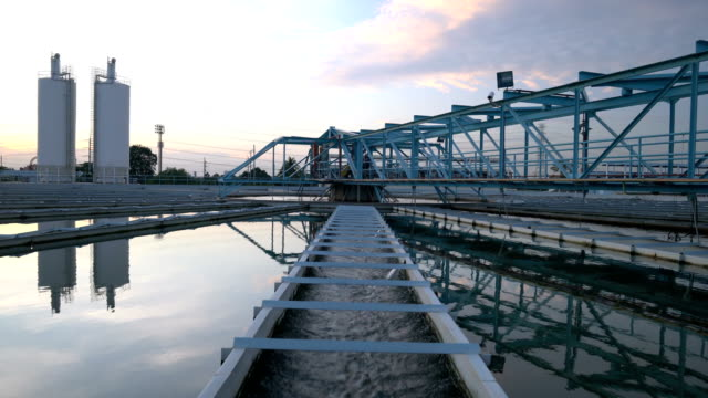 4K Video : Water Treatment plant with sunset video