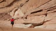 HD video woman explores Horseshoe Canyon Canyonlands NP Utah video