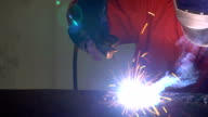 4K Video : Worker welding the steel part video