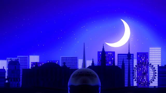 Vienna Austria Airplane Take Off Moon Night Blue Skyline Travel video