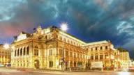 Vienna Staatsoper at night, Austria - Time lapse video