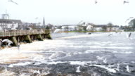 View at hydroelectric power plant on river in Ireland video