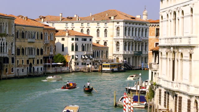 view at the Grand Canal in Venice at the evening time. Italy video